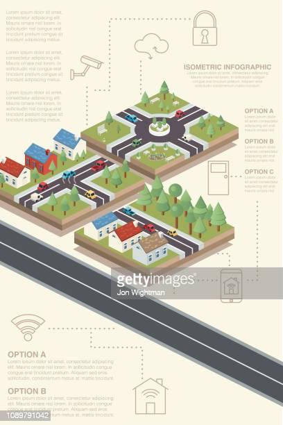 illustrazioni stock, clip art, cartoni animati e icone di tendenza di infografica isometrica sull'edificio intelligente - città intelligente