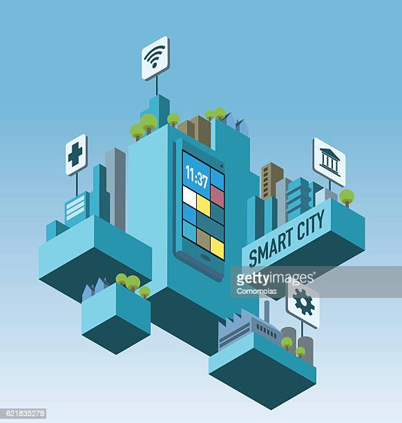 ilustraciones, imágenes clip art, dibujos animados e iconos de stock de isometric smart city wireless connected - movilidad urbana