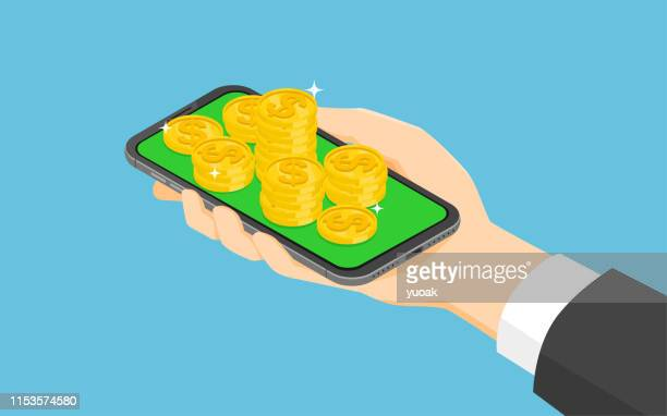 アイソメスマートフォンとマネーコイン - 稼ぐ点のイラスト素材/クリップアート素材/マンガ素材/アイコン素材