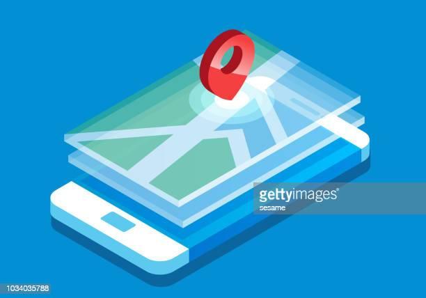 illustrations, cliparts, dessins animés et icônes de isométrique smartphone système de positionnement - imagination