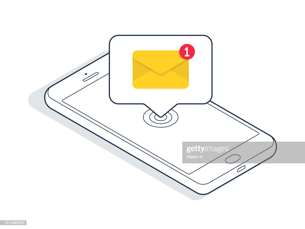 Isometric smartphone with new email or sms message. Vector illustration : stock illustration