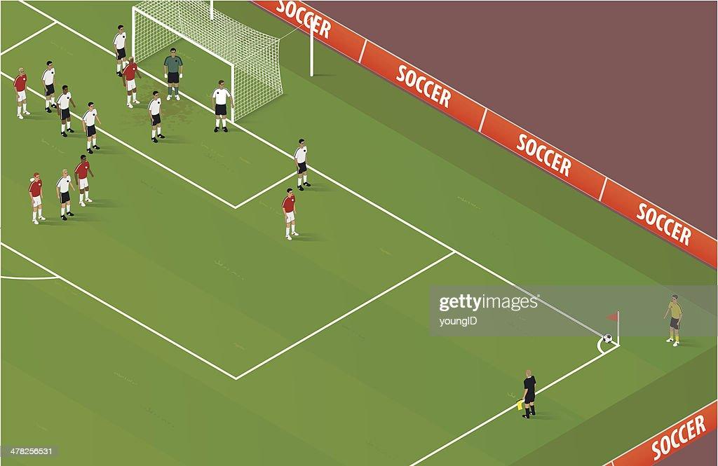 Isometric Soccer Corner Kick : stock illustration