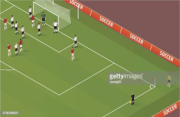 isometric soccer corner kick - midfielder soccer player stock illustrations