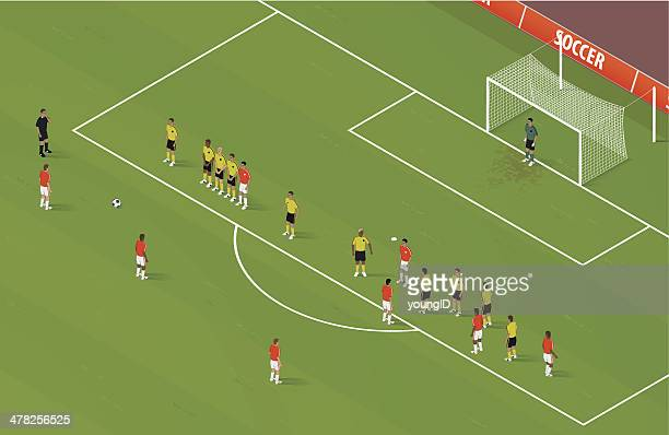 isometric soccer freekick - midfielder soccer player stock illustrations