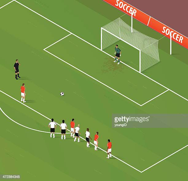 isometric soccer penalty kick - football field stock illustrations, clip art, cartoons, & icons