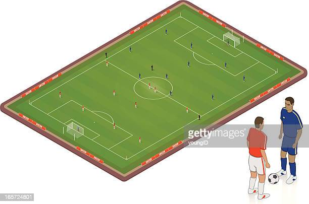 isometric soccer pitch - football field stock illustrations, clip art, cartoons, & icons