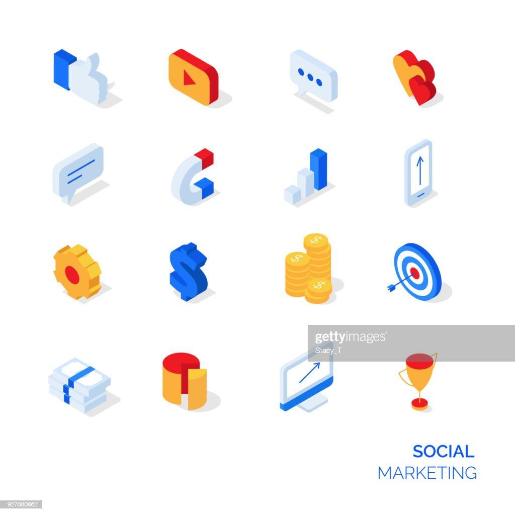 Isometric social marketing icons set.