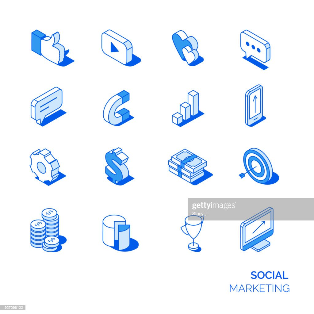 Isometric social marketing icons set.