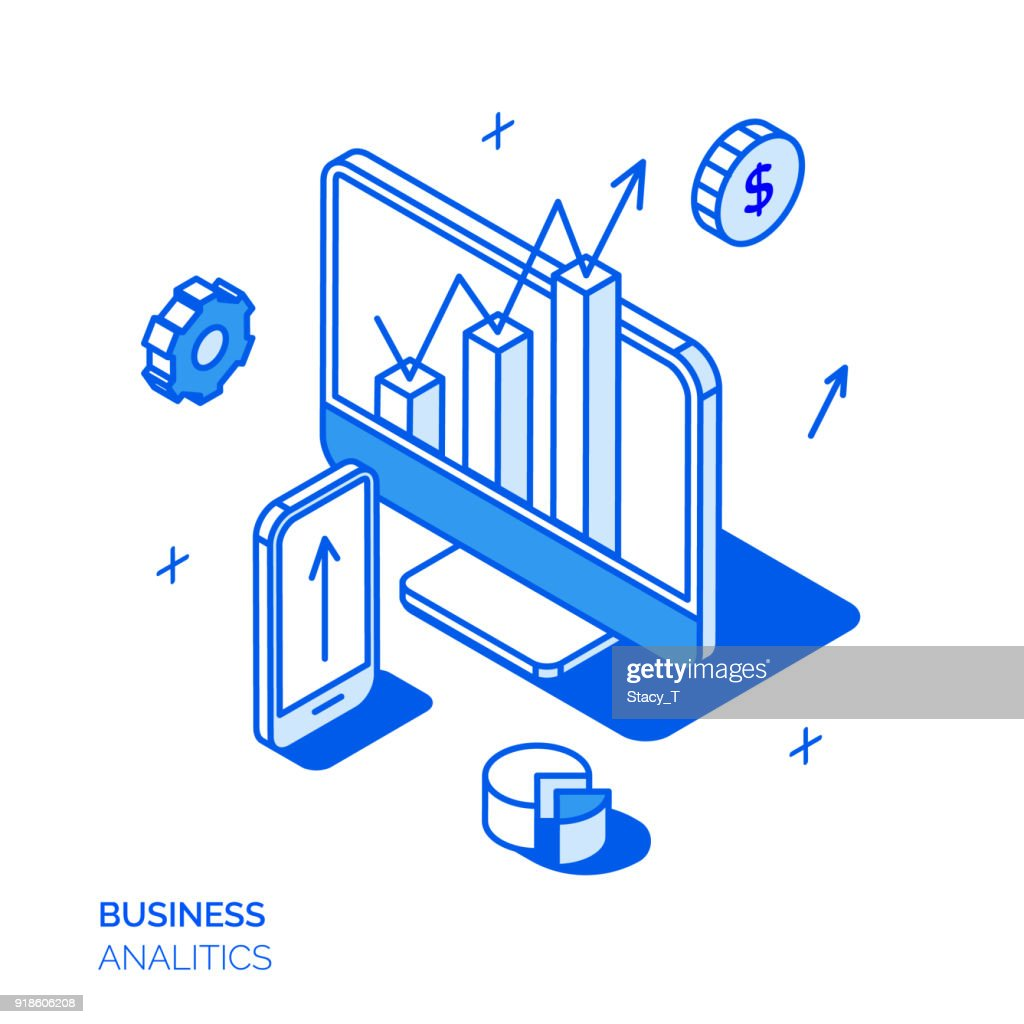 Isometric social marketing line style concept