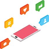 Isometric social networking, internet concept, vector illustration, isometric style