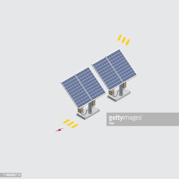 bildbanksillustrationer, clip art samt tecknat material och ikoner med isometriska solenergi celler - solenergi