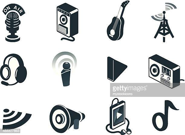 isometric sound and audio icons - podcasting stock illustrations, clip art, cartoons, & icons