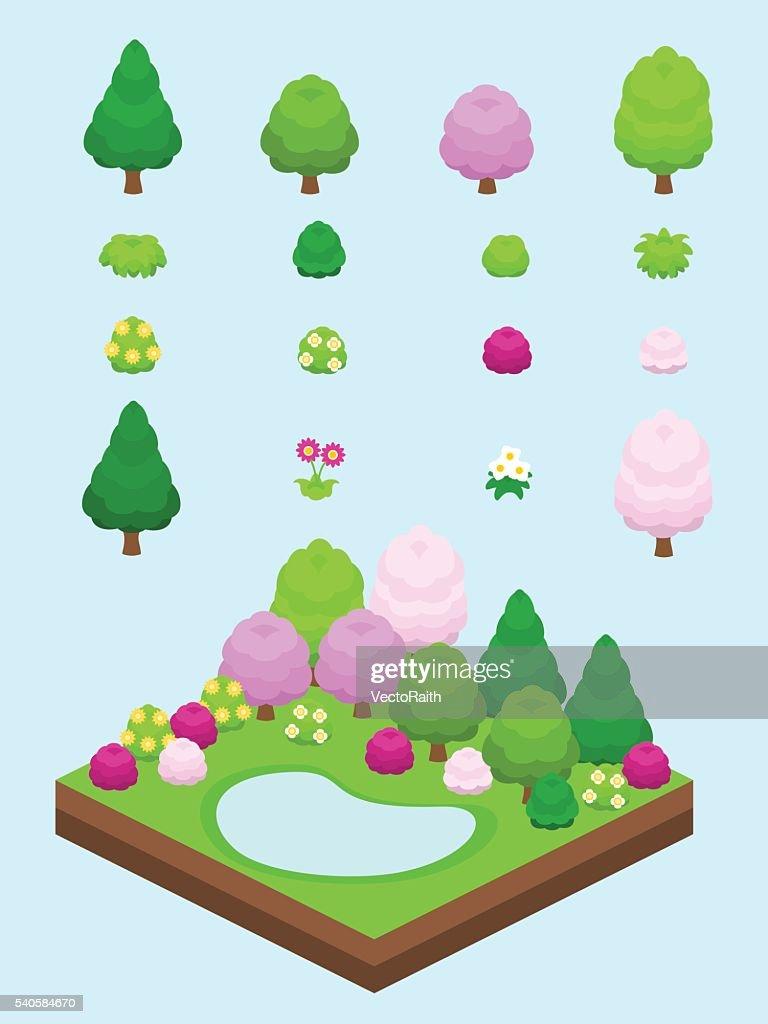 Isometric Spring Plants Set