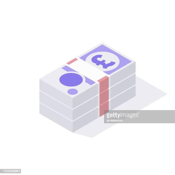 白い背景に分離された英国のgbp 20ポンド紙幣の等角スタック - 数字の20点のイラスト素材/クリップアート素材/マンガ素材/アイコン素材
