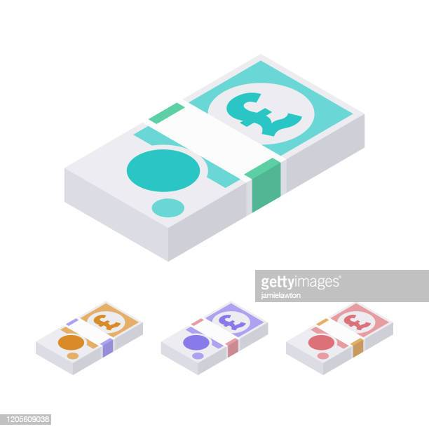 isometric stacks of british gbp pound sterling notes isolated on a white background - british pound note stock illustrations