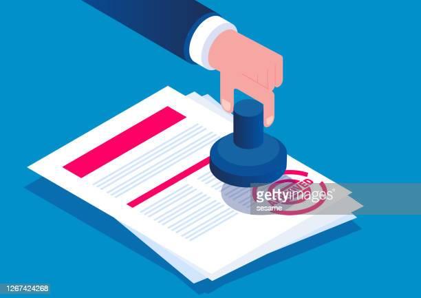 ilustrações, clipart, desenhos animados e ícones de documentos de aprovação carimbados isométricos, aprovação de documentos - endossar