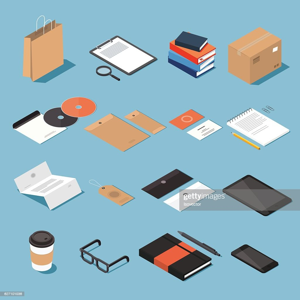 Isometric stionery and office equipment set