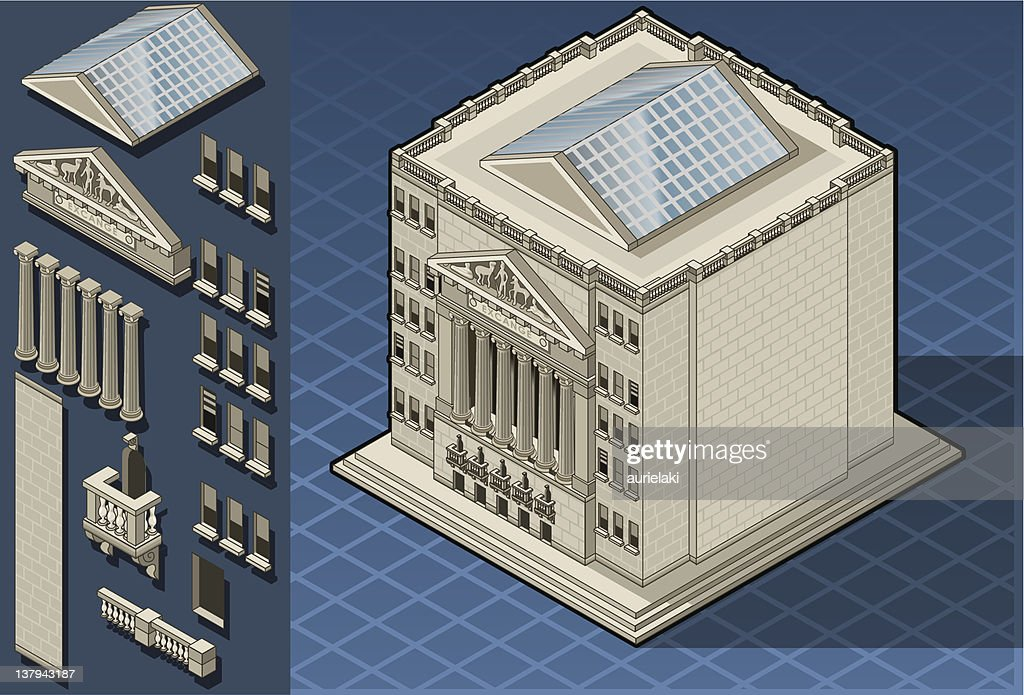 Isometric stock exchange building in new york, wall street