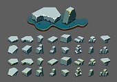 Isometric stones at night for video games