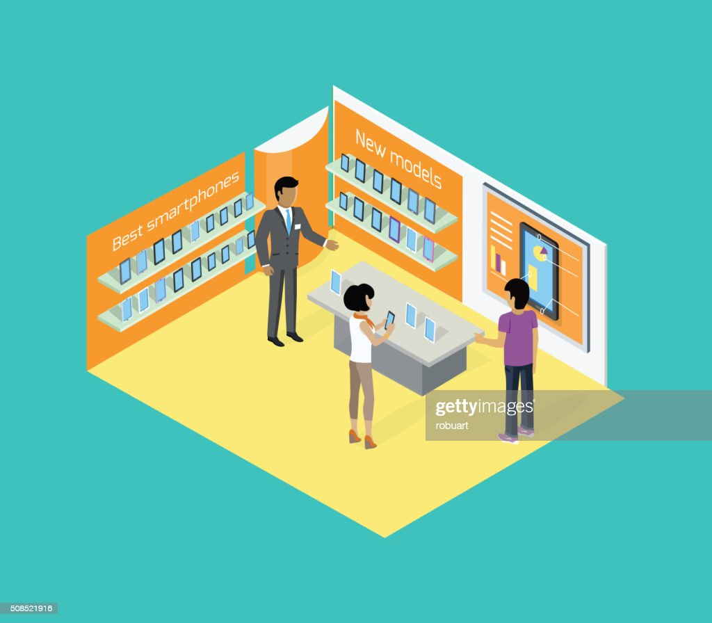 Isometric Store Tablets Design Flat
