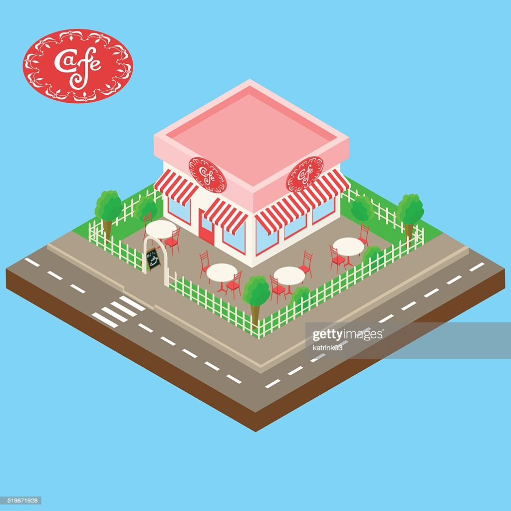 isometric street cafe building