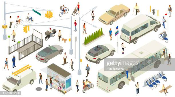 isometric street icons - parking sign stock illustrations