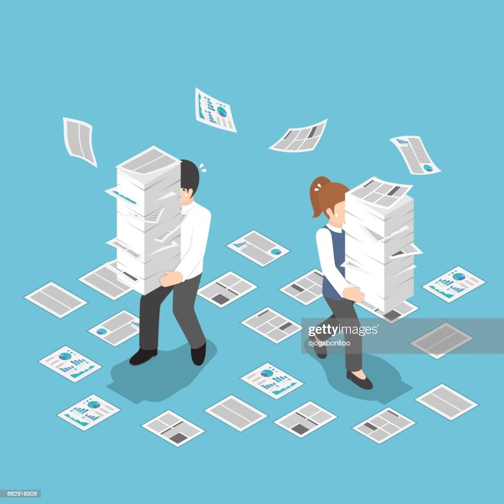 Isometric stressful businessman holding stack of paper