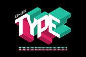 Isometric style font