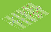 Isometric Style Football / Soccer Tactic Table. Field With Game Scheme.
