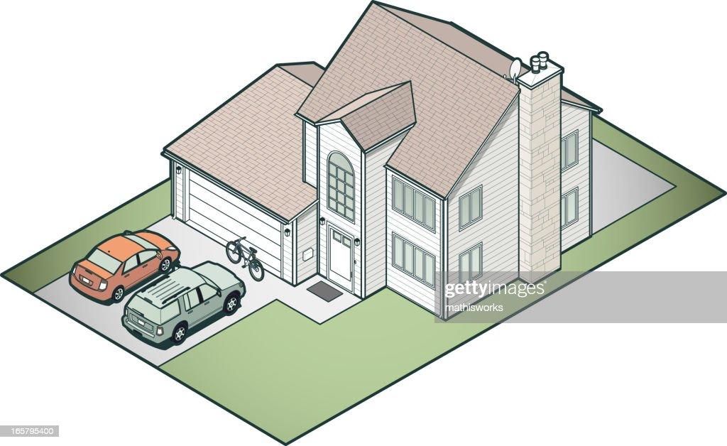 Isometric Suburban House : stock illustration