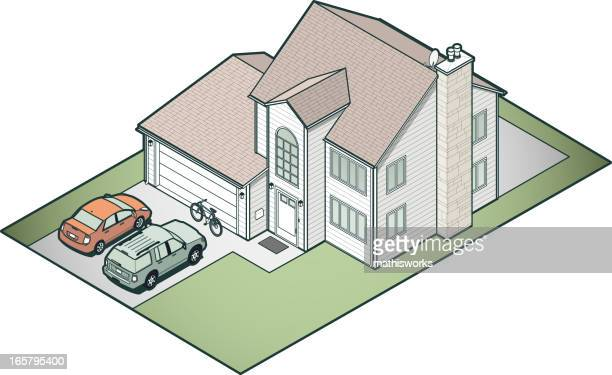 isometric suburban house - mathisworks vehicles stock illustrations