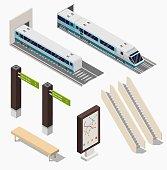 Isometric Subway station low poly platform set with train, underground and inside the railway, metro wagon.