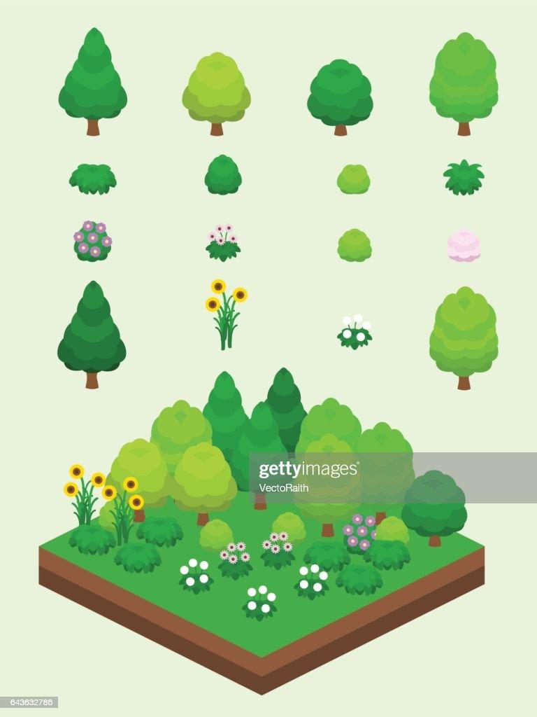 Isometric Summer Plants Set