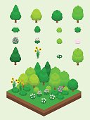 Isometric Summer Plants Set