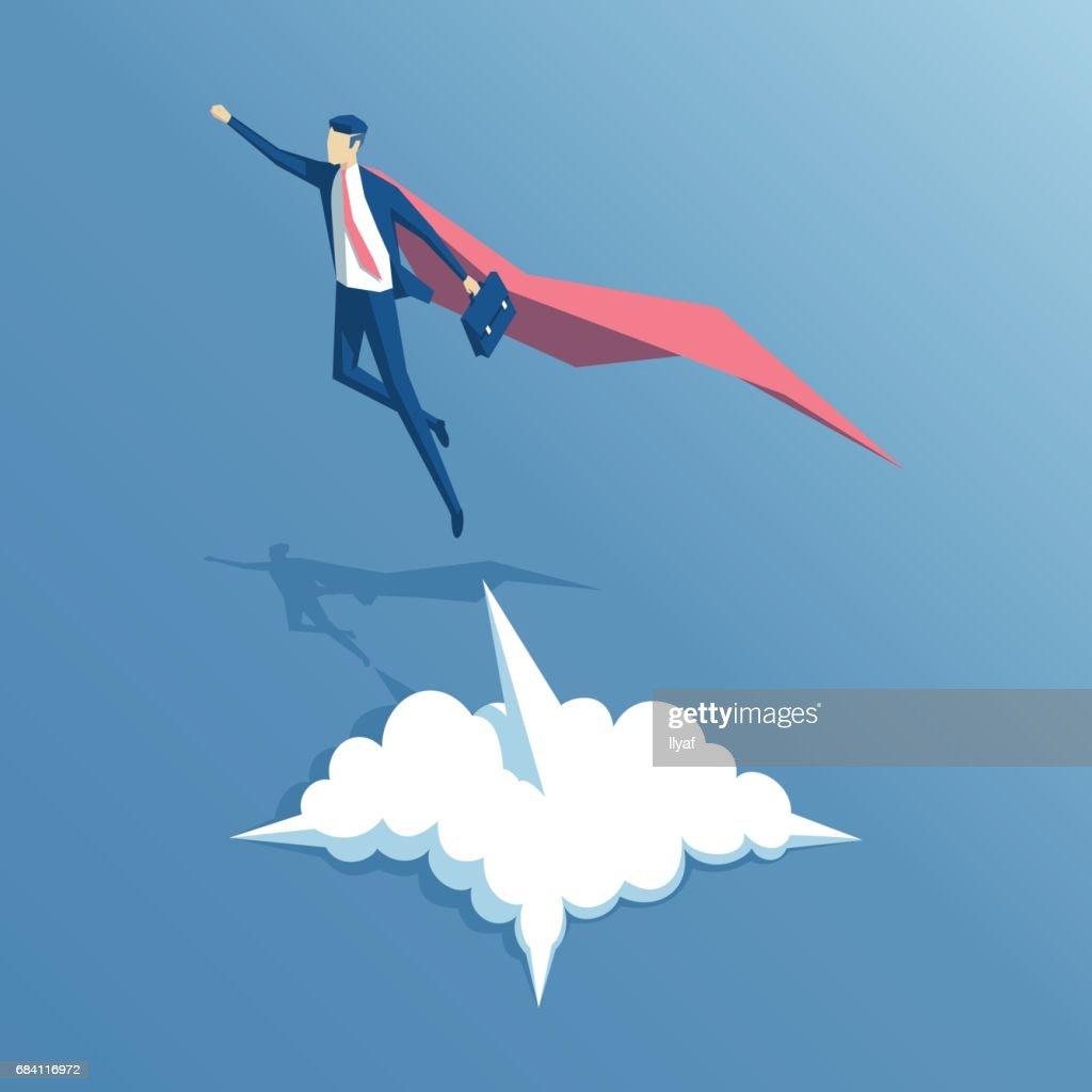 Isometric super businessman