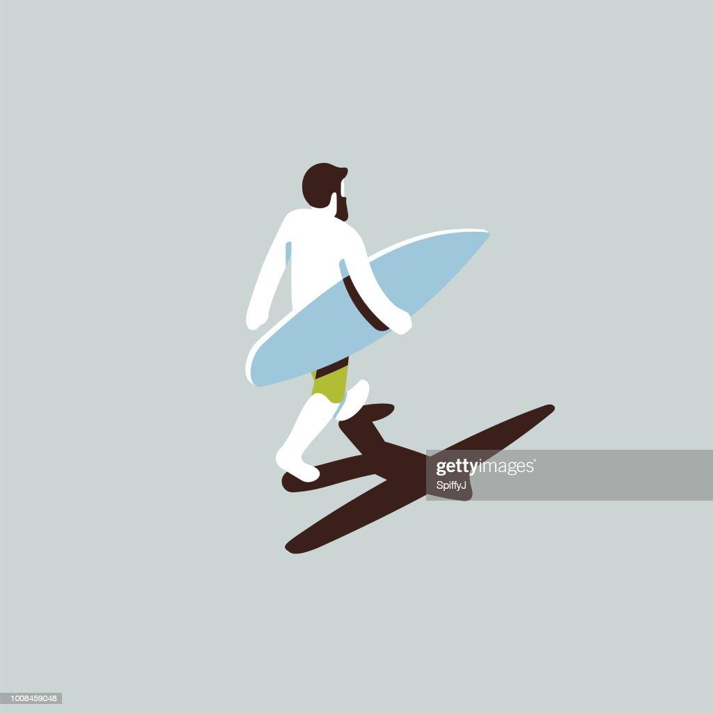Isometric surfer dude : stock illustration