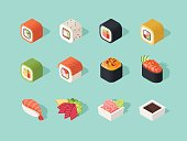 Isometric sushi icons