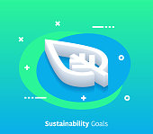 Isometric Sustainability Goals Vector Web Banner & Icon Design