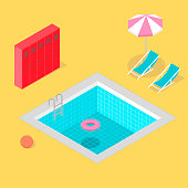 Isometric swimming pool with locker umbrella beach ball life ring and beach chair