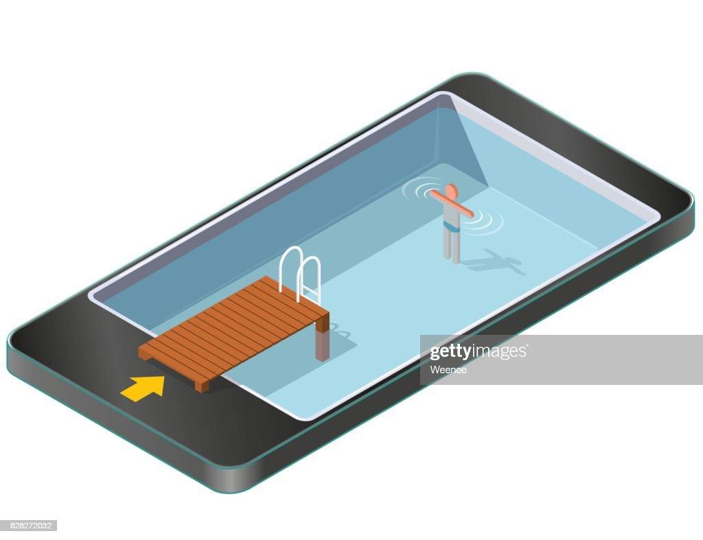 Isometrische Schwimmbad Mit Holzmole In Handy. : Vektorgrafik