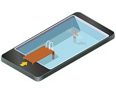 Isometric swimming pool with wooden pier in mobile phone.