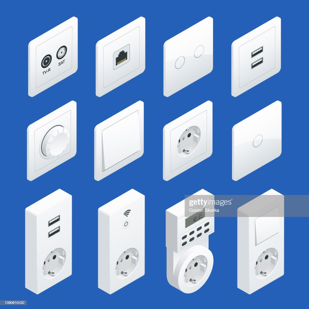 Isometric Switches and Sockets set. AC power sockets realistic illustration