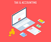 Isometric Tax and Accounting. Bills online payment. Concept of mobile payment, shoping, banking. Isolated images of accountant workspace elements money coins vector illustration.