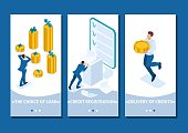 Isometric Template app The man grabbed his head and looks at the amount of loans and their rates, smartphone apps