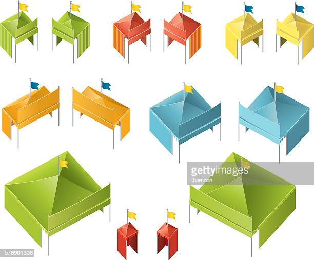 isometric tents - tent stock illustrations, clip art, cartoons, & icons