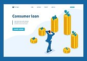 Isometric The man grabbed his head and looks at the amount of loans and their rates. Website Template Landing page