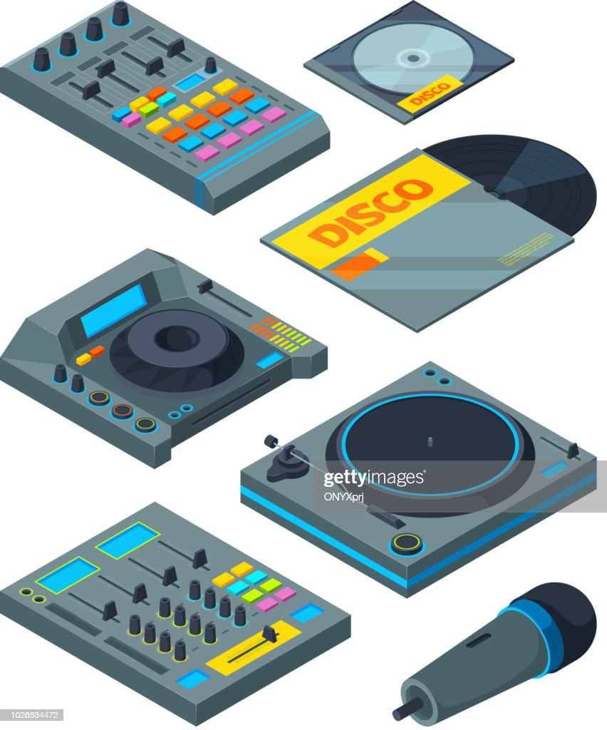 DJ isometric tools. Various instruments for DJ