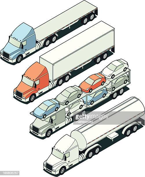 Isometric Tractor Trailer Trucks