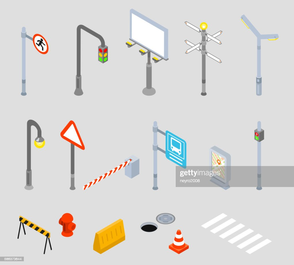 Isometric traffic management. Urban 3D vector icons