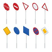 Isometric traffic signs collection